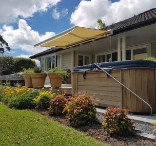 retractable awning over spa