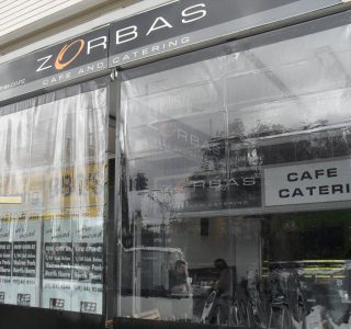 Crank Screen clear PVC Commercial Zorbas 320x300 - Roller Blinds / Outdoor Curtains - Ziptrak®