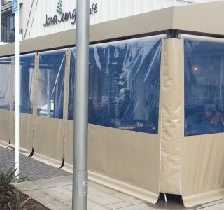 Crank Screens clear PVC privacy panel Commercial Java Jungle Browns Bay 320x300 - Fixed Panel Screens / Wind Break