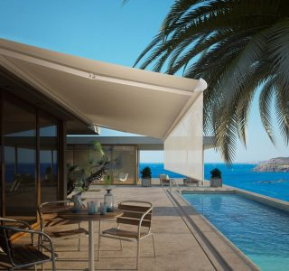 white luxury retractable awning