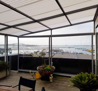 Fixed Frame Canopy and Crank Handle Drop Screens Residential 320x300 - Fixed Frame Polycarbonate Canopies