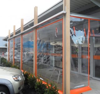 Hand Rolled Screens clear PVC Commercial Little India 320x300 - Fixed Panel Screens / Wind Break