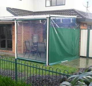 Hand Rolled Screens clear PVC full block privacy panel Residential 51 320x300 - Crank Screens / Roller Blinds / Outdoor Curtains