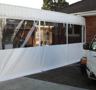 Hand Rolled Screens clear PVC privacy panel Residential 14 320x300 - Fixed Panel Screens / Wind Break