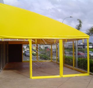 Hand rolled screens clear PVC and structural PVC cover Commercial 320x300 - Roller Blinds / Outdoor Curtains - Ziptrak®