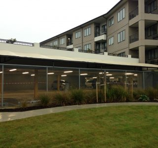 TMS Bupa Blockhouse Bay Commercial 320x300 - Fixed Frame PVC Canopies (Tensioned Membrane Structure)