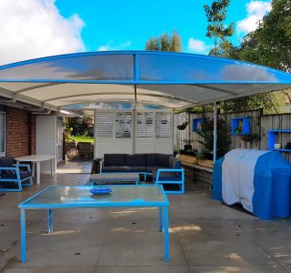 TMS and Screens Residential 2 320x300 - Fixed Frame PVC Canopies (Tensioned Membrane Structure)