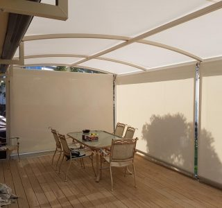 TMS with screens Residential 1 320x300 - Fixed Frame PVC Canopies (Tensioned Membrane Structure)
