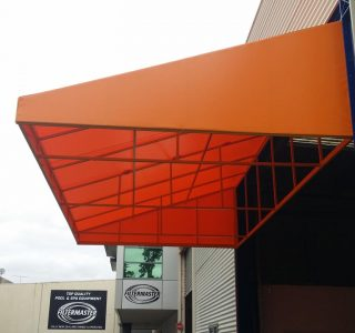 Wedge Awning Commercial 320x300 - Fixed Frame PVC Canopies (Tensioned Membrane Structure)