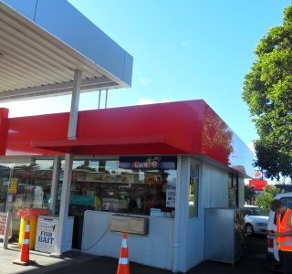 Wedge Awning Commercial Caltex petrol 320x300 - Fixed Frame PVC Canopies (Tensioned Membrane Structure)