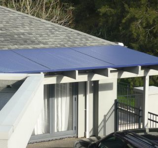 Wedge Awning Residential 2 320x300 - Fixed Frame PVC Canopies (Tensioned Membrane Structure)
