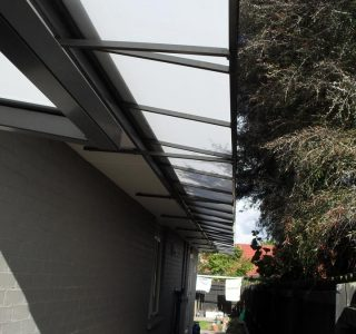 Wedge Awning Residential 22 320x300 - Fixed Frame PVC Canopies (Tensioned Membrane Structure)