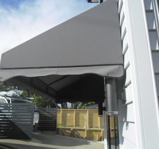 Wedge Awning Residential 24 320x300 - Fixed Frame PVC Canopies (Tensioned Membrane Structure)