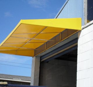 Wedge Awning commercial factories 320x300 - Fixed Frame PVC Canopies (Tensioned Membrane Structure)