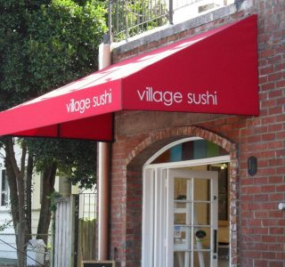 Wedge awning village sushi commercial restaurant 320x300 - Fixed Frame PVC Canopies (Tensioned Membrane Structure)
