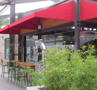 wedge awning commercial restaurant outdoor dining 2 320x300 - Fixed Frame PVC Canopies (Tensioned Membrane Structure)